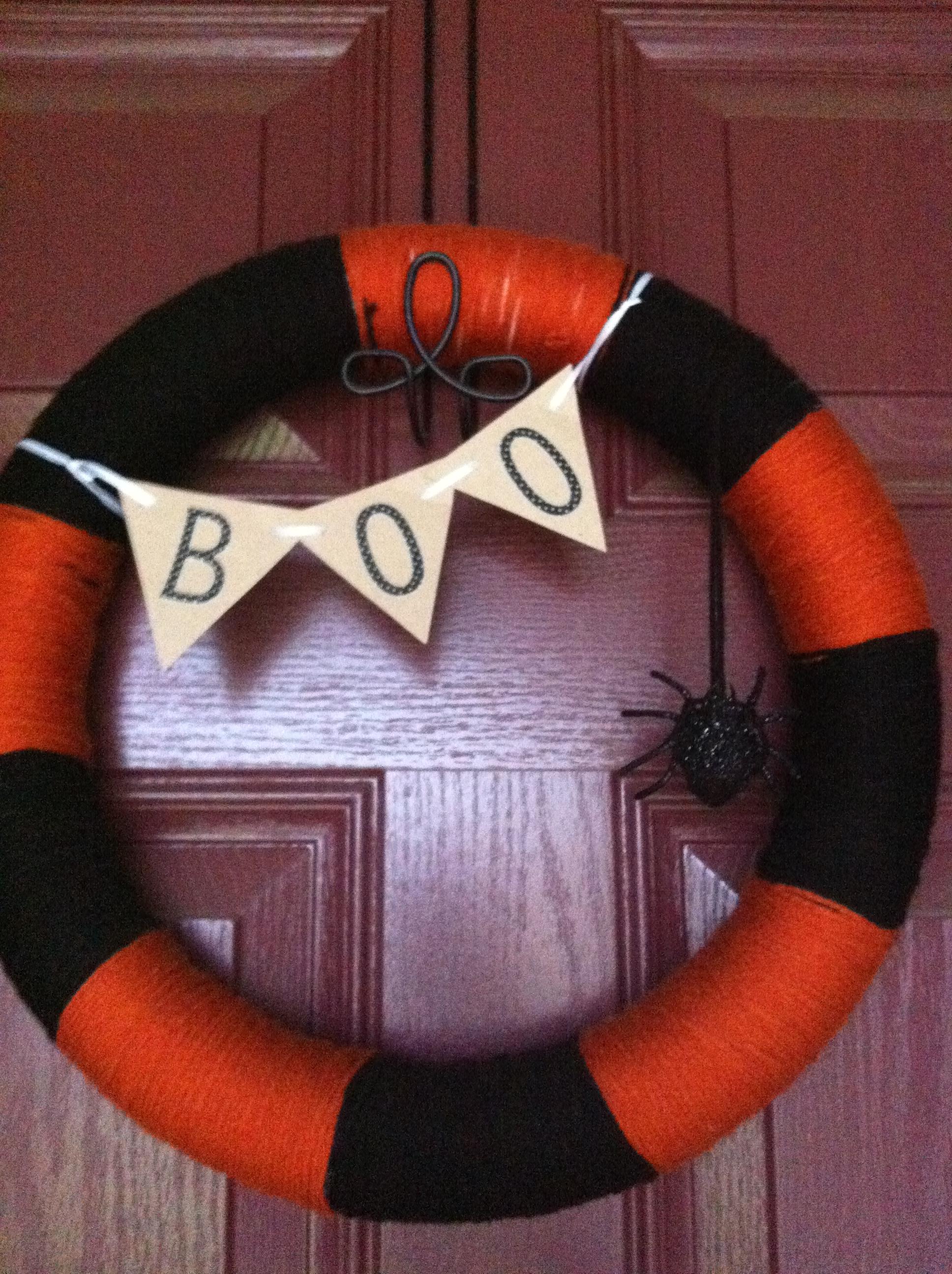 Diy Halloween Yarn Wreath From Heels To Boots