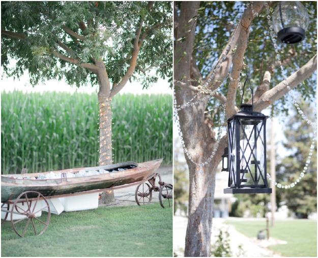 2.  On the left is the sweet vintage canoe that my cousin built.  We had a bar with beer & wine, but this canoe held the waters and soft drinks.  The image on the right is the tree that our dessert wagon was underneath.  In the tree we hung black lanterns and strung crystals through the tree to give the glam effect.