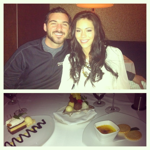 Top:  My husband & I enjoying an awesome dinner.Bottom:  Dessert.  So.much.dessert.