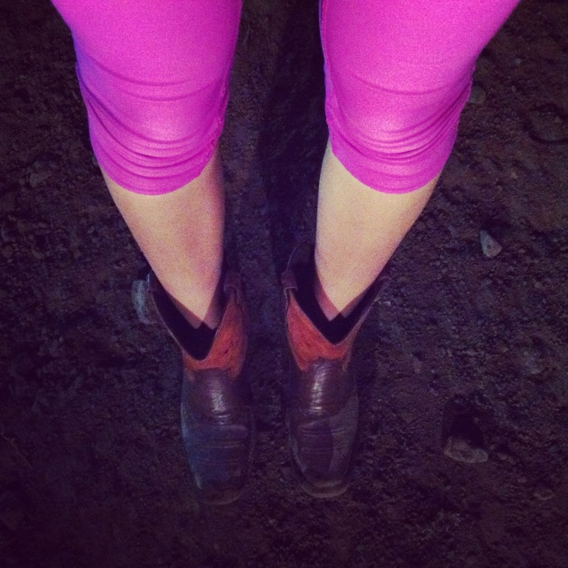 Neon + Boots. I think it's a new trend.