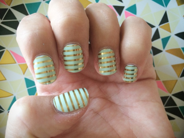 Mint Green & Gold Horizontal Pinstripe